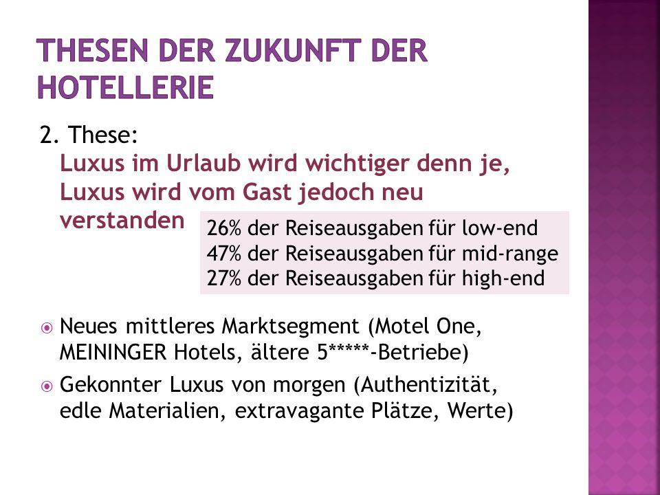 2. These: Luxus im Urlaub wird wichtiger denn je, Luxus wird vom Gast jedoch neu verstanden Neues mittleres Marktsegment (Motel One, MEININGER Hotels,