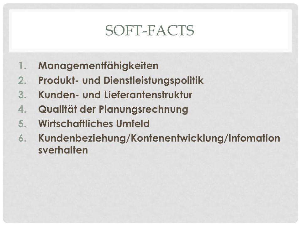 SOFT-FACTS 1.Managementfähigkeiten 2.Produkt- und Dienstleistungspolitik 3.Kunden- und Lieferantenstruktur 4.Qualität der Planungsrechnung 5.Wirtschaftliches Umfeld 6.Kundenbeziehung/Kontenentwicklung/Infomation sverhalten