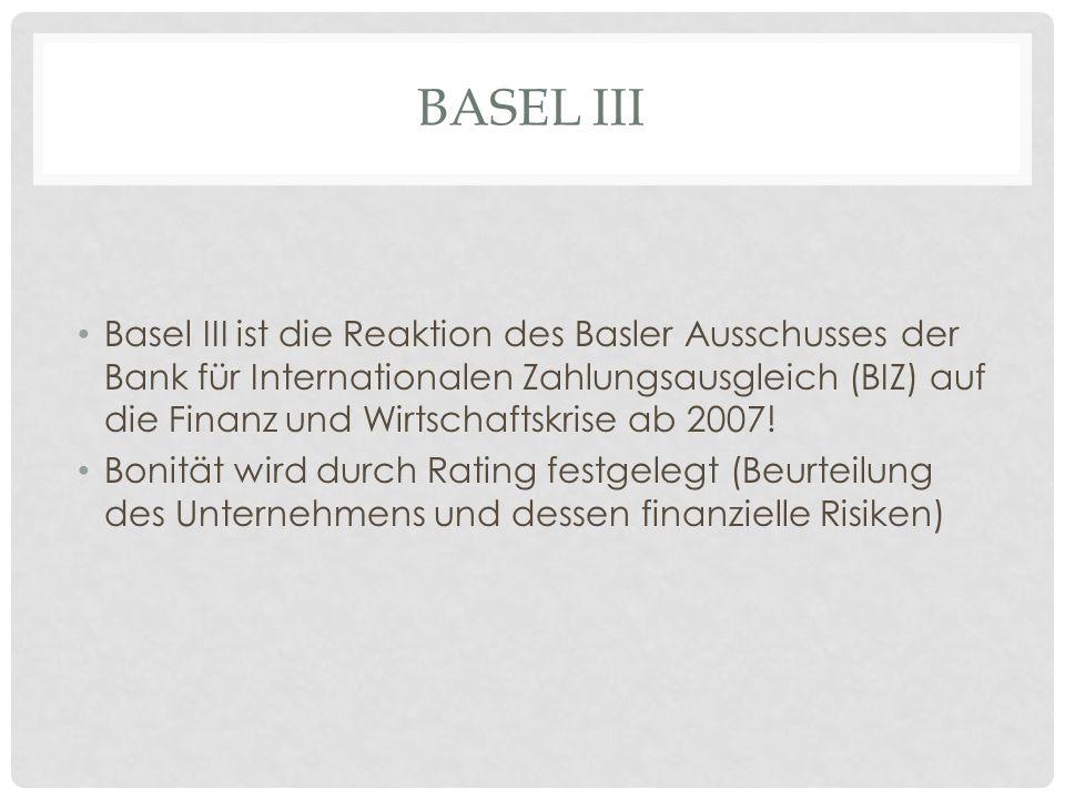 BASEL III Basel III ist die Reaktion des Basler Ausschusses der Bank für Internationalen Zahlungsausgleich (BIZ) auf die Finanz und Wirtschaftskrise ab 2007.