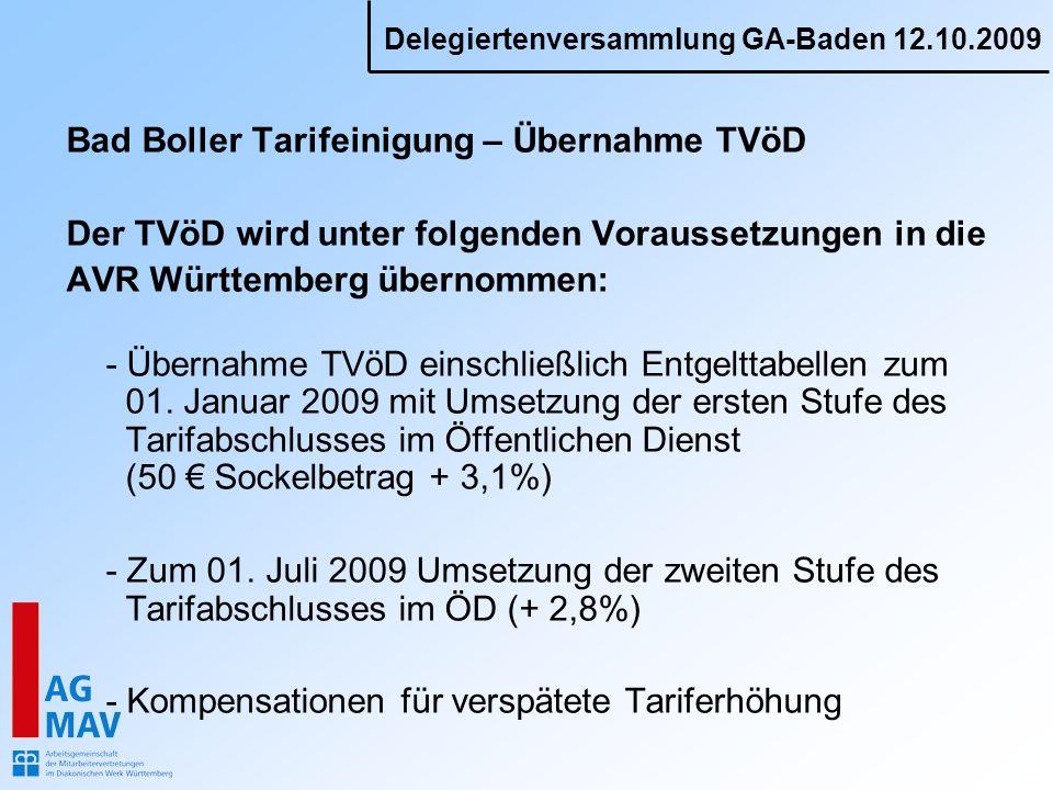 Delegiertenversammlung GA-Baden 12.10.2009 Bad Boller Tarifeinigung – Übernahme TVöD Der TVöD wird unter folgenden Voraussetzungen in die AVR Württemberg übernommen: - Übernahme TVöD einschließlich Entgelttabellen zum 01.