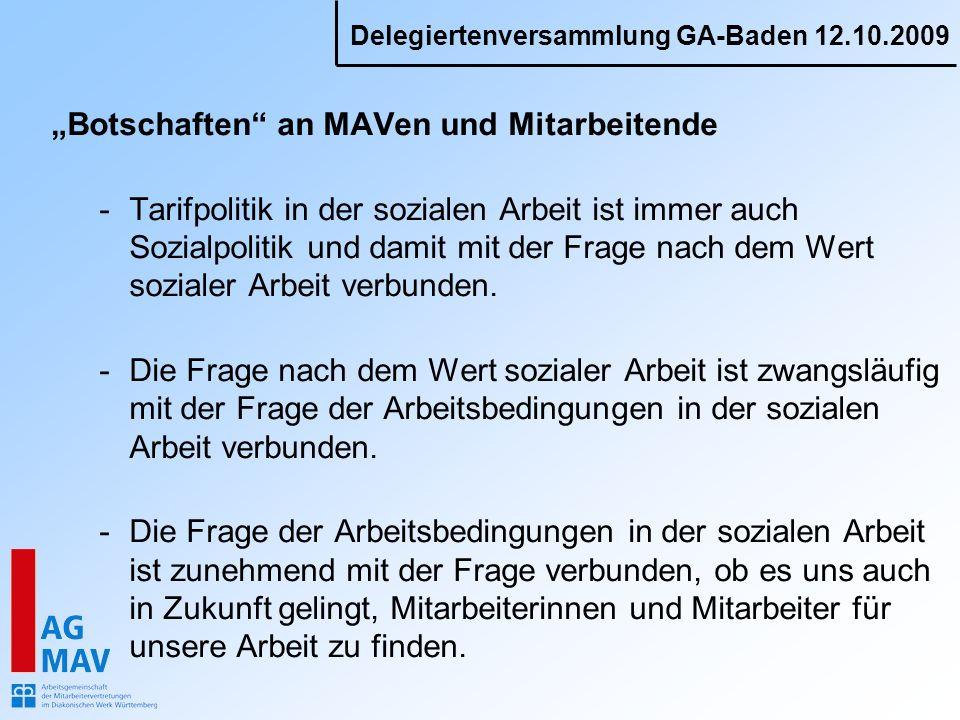 Delegiertenversammlung GA-Baden 12.10.2009 Botschaften an MAVen und Mitarbeitende -Tarifpolitik in der sozialen Arbeit ist immer auch Sozialpolitik und damit mit der Frage nach dem Wert sozialer Arbeit verbunden.