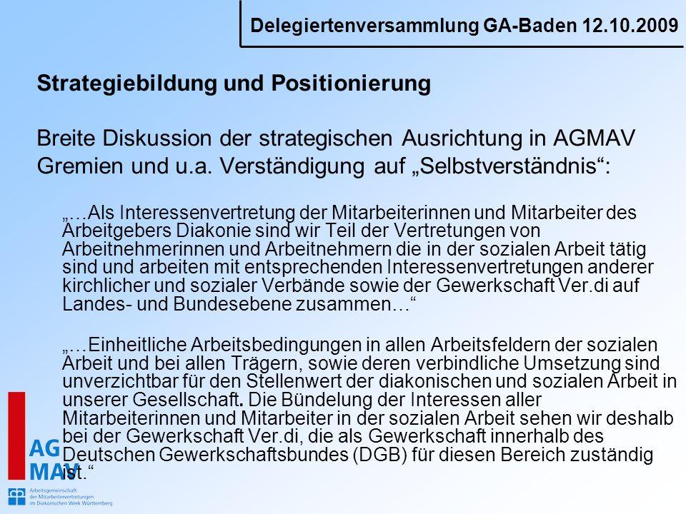 Delegiertenversammlung GA-Baden 12.10.2009 Strategiebildung und Positionierung Breite Diskussion der strategischen Ausrichtung in AGMAV Gremien und u.a.
