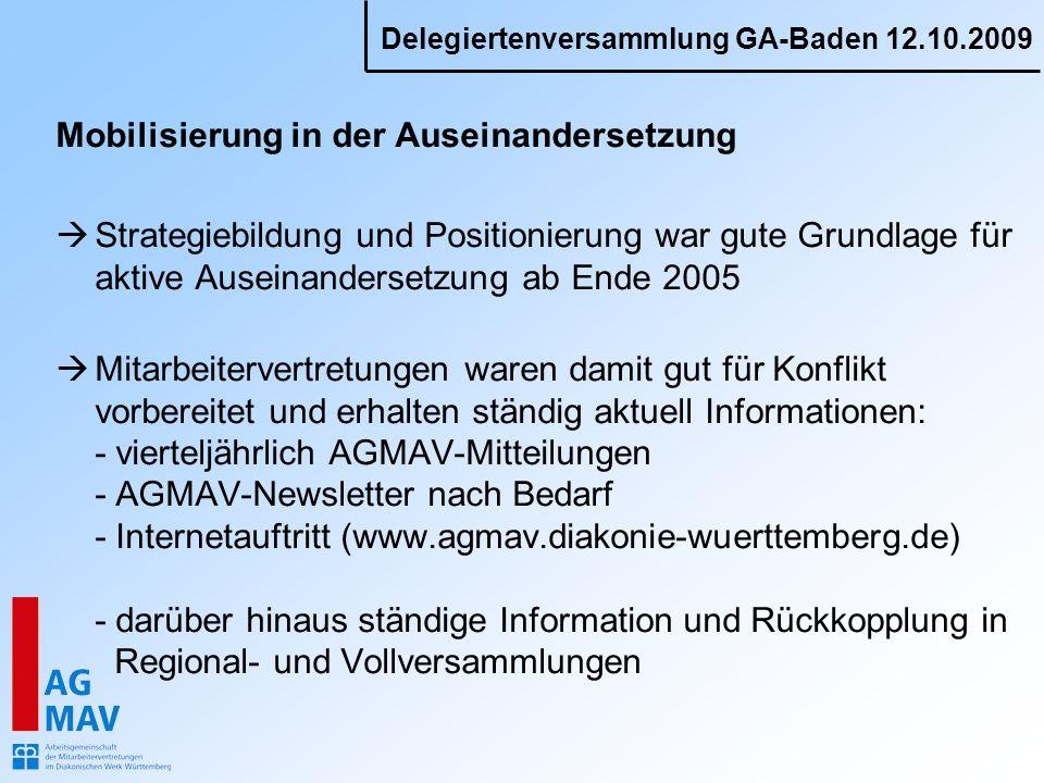 Delegiertenversammlung GA-Baden 12.10.2009 Mobilisierung in der Auseinandersetzung Strategiebildung und Positionierung war gute Grundlage für aktive A