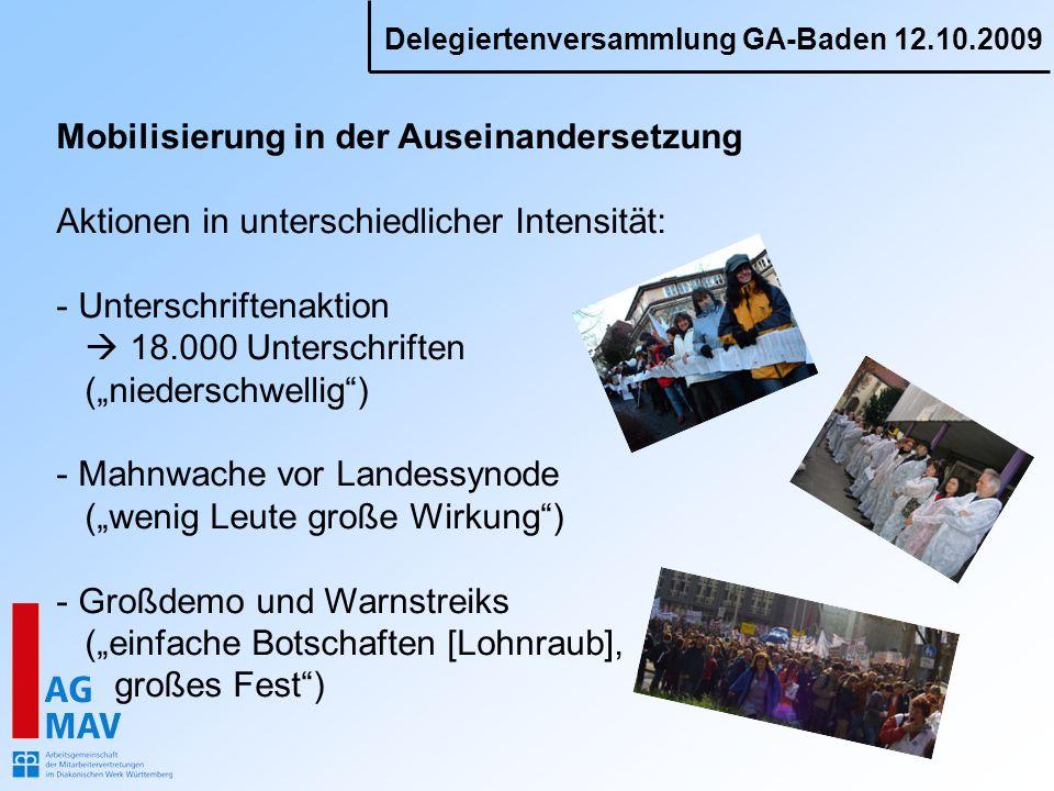 Delegiertenversammlung GA-Baden 12.10.2009 Mobilisierung in der Auseinandersetzung Aktionen in unterschiedlicher Intensität: - Unterschriftenaktion 18