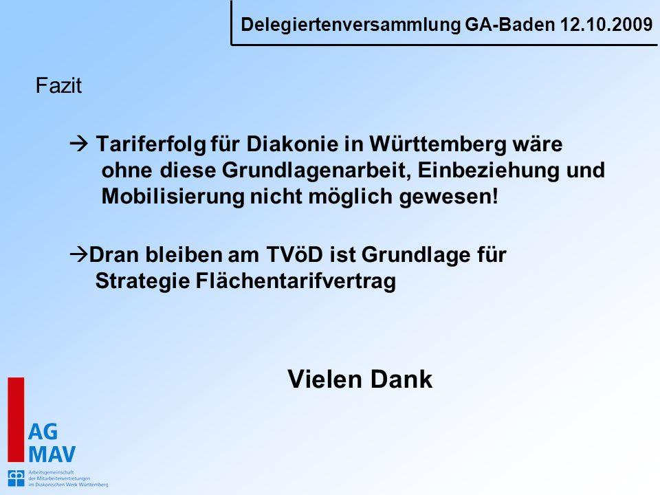 Delegiertenversammlung GA-Baden 12.10.2009 Fazit Tariferfolg für Diakonie in Württemberg wäre ohne diese Grundlagenarbeit, Einbeziehung und Mobilisier