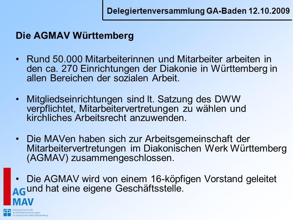 Delegiertenversammlung GA-Baden 12.10.2009 Die AGMAV Württemberg Rund 50.000 Mitarbeiterinnen und Mitarbeiter arbeiten in den ca. 270 Einrichtungen de