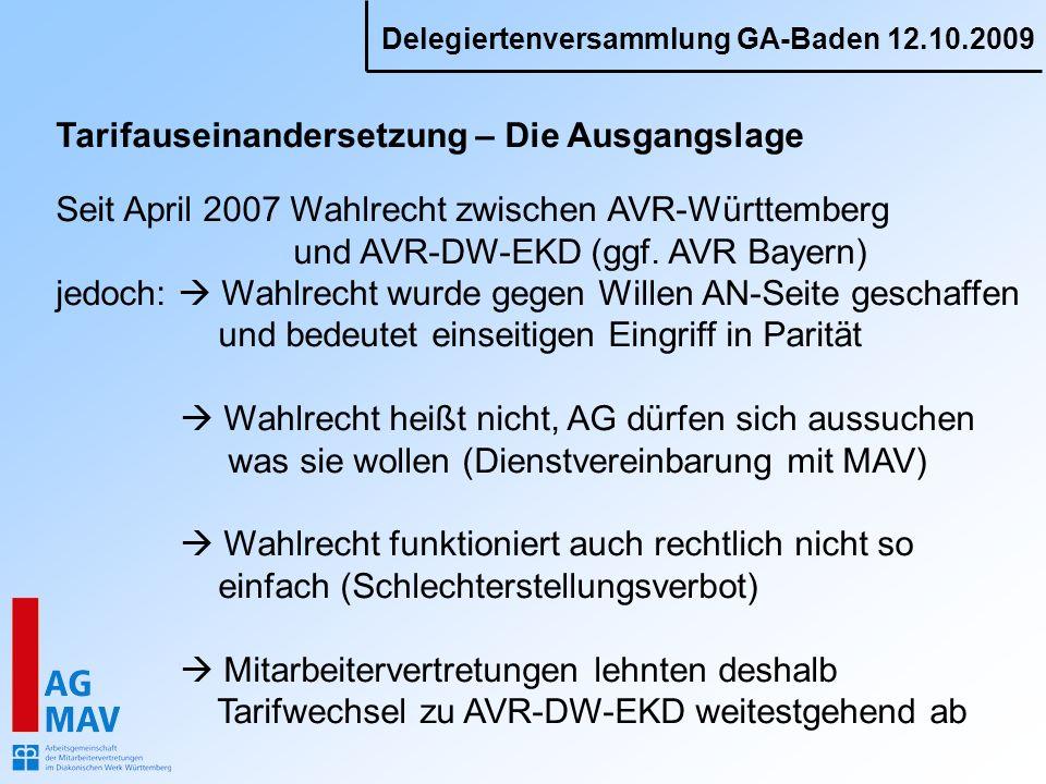 Delegiertenversammlung GA-Baden 12.10.2009 Tarifauseinandersetzung – Die Ausgangslage Seit April 2007 Wahlrecht zwischen AVR-Württemberg und AVR-DW-EK