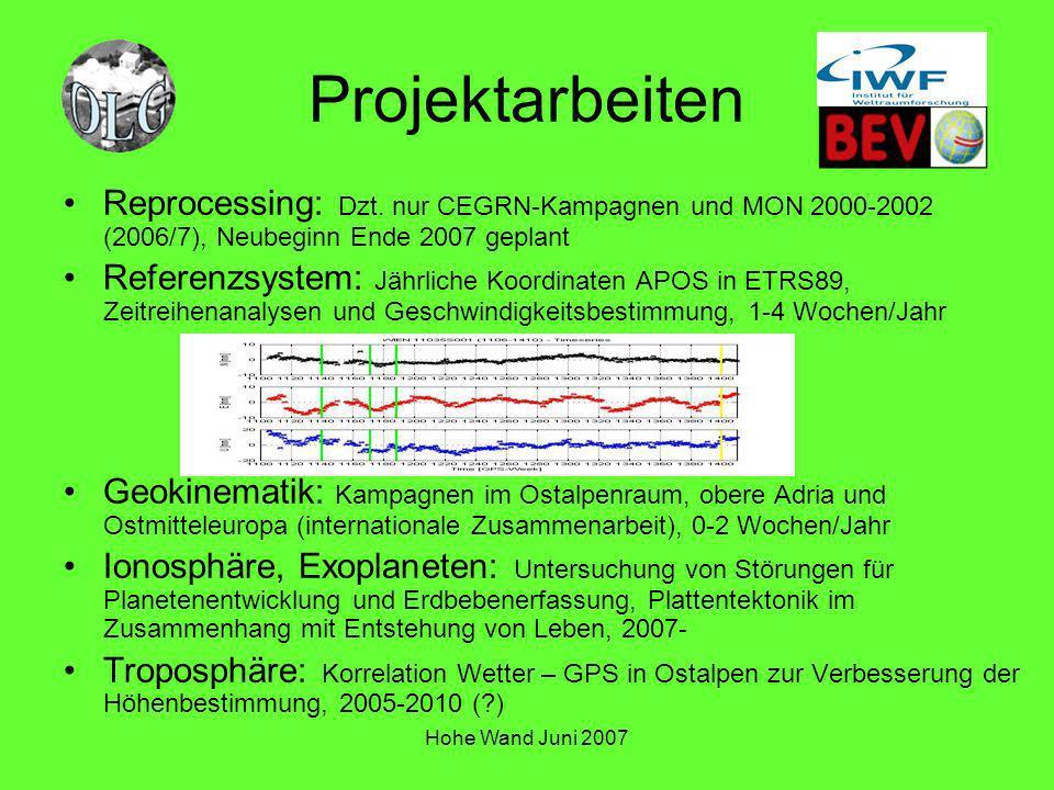 Hohe Wand Juni 2007 Projektarbeiten Reprocessing: Dzt. nur CEGRN-Kampagnen und MON 2000-2002 (2006/7), Neubeginn Ende 2007 geplant Referenzsystem: Jäh