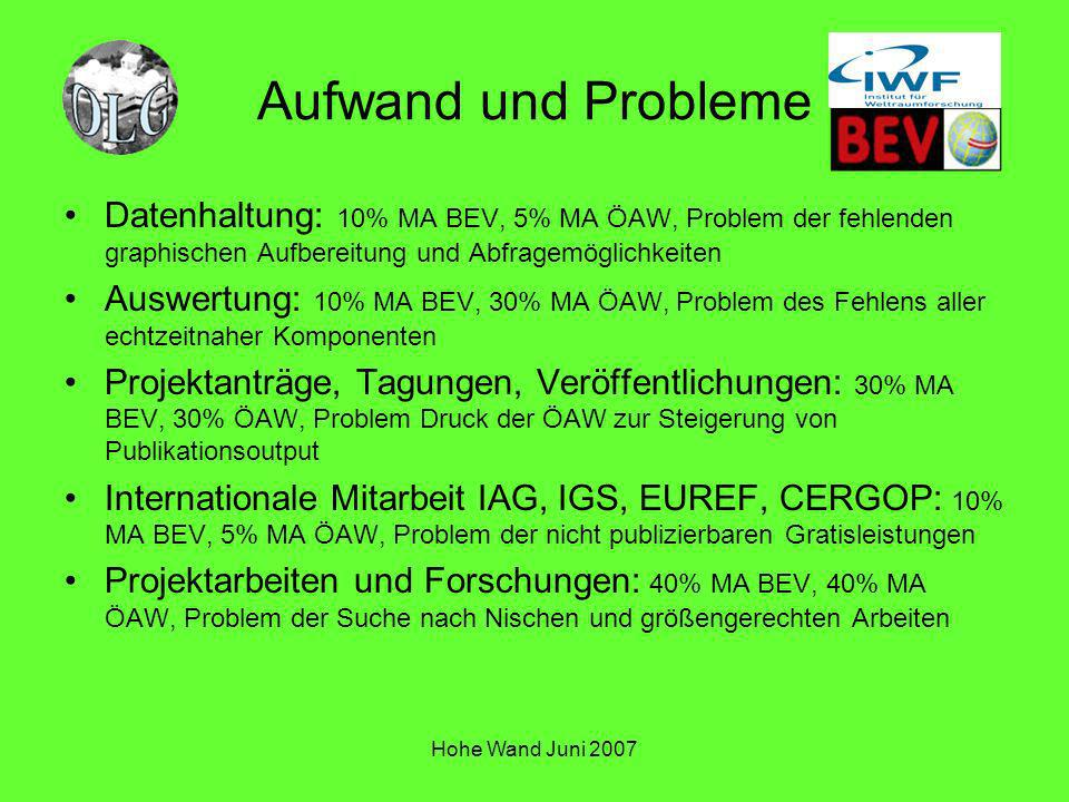 Hohe Wand Juni 2007 Aufwand und Probleme Datenhaltung: 10% MA BEV, 5% MA ÖAW, Problem der fehlenden graphischen Aufbereitung und Abfragemöglichkeiten