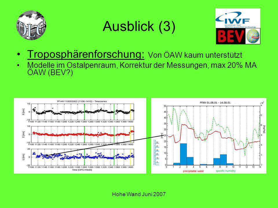 Hohe Wand Juni 2007 Ausblick (3) Troposphärenforschung: Von ÖAW kaum unterstützt Modelle im Ostalpenraum, Korrektur der Messungen, max 20% MA ÖAW (BEV