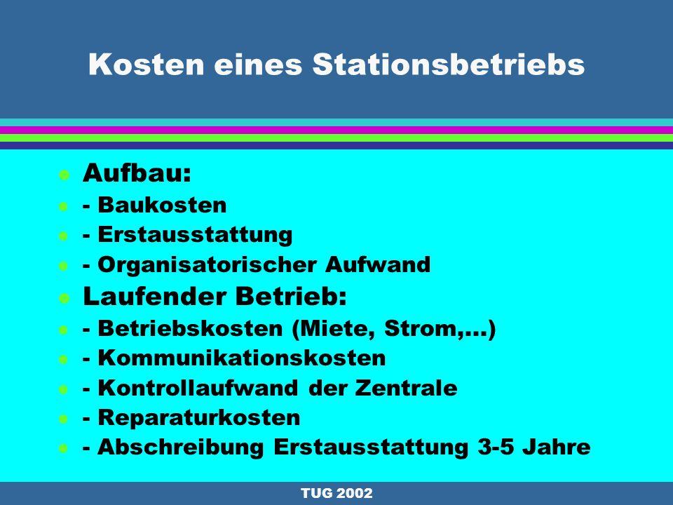 TUG 2002 Design der österreichischen Permanentstationen l Empfängerausstattung: Geodätische 2-Frequenzempfänger (Code und Phase) : e.g. Turborogue, Tr