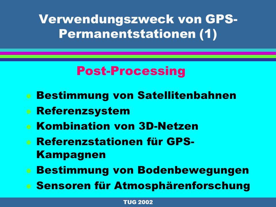 TUG 2002 Geschichte und Ausbau : Rottenmann l Permanentstation seit 9/1999; finanziert durch die Stadtgemeinde Rottenmann l 9/1999: Trimble l 11/1999: