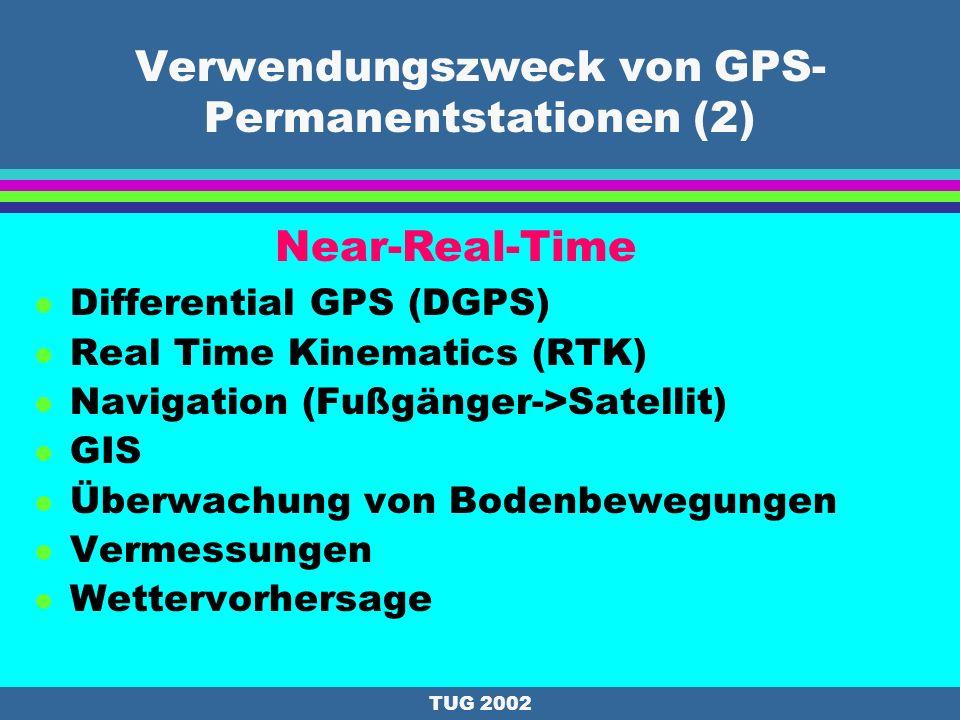 TUG 2002 Verwendungszweck von GPS- Permanentstationen (1) l Bestimmung von Satellitenbahnen l Referenzsystem l Kombination von 3D-Netzen l Referenzsta