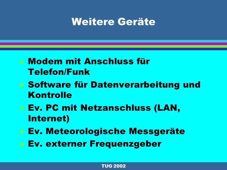 TUG 2002 Verwendungszweck von GPS- Permanentstationen (2) l Differential GPS (DGPS) l Real Time Kinematics (RTK) l Navigation (Fußgänger->Satellit) l GIS l Überwachung von Bodenbewegungen l Vermessungen l Wettervorhersage Near-Real-Time