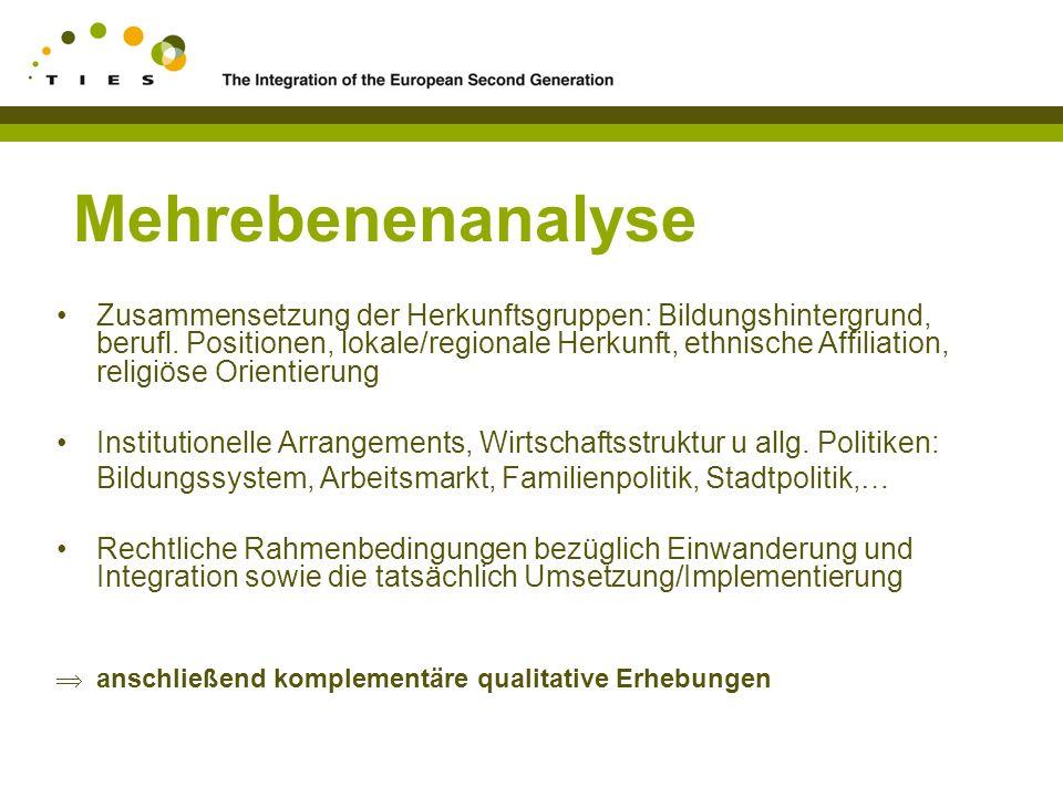 Mehrebenenanalyse Zusammensetzung der Herkunftsgruppen: Bildungshintergrund, berufl.