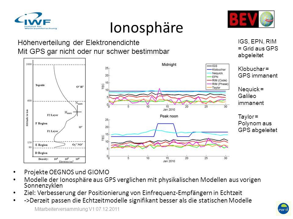 Ionosphäre Mitarbeiterversammlung V1 07.12.2011 Höhenverteilung der Elektronendichte Mit GPS gar nicht oder nur schwer bestimmbar Projekte OEGNOS und