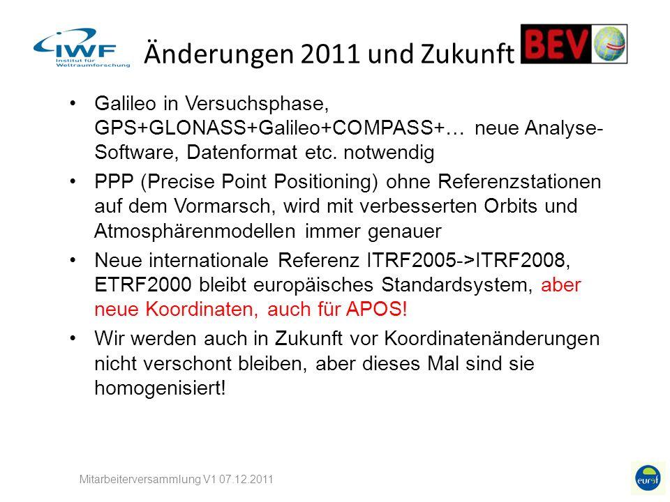 Änderungen 2011 und Zukunft Galileo in Versuchsphase, GPS+GLONASS+Galileo+COMPASS+… neue Analyse- Software, Datenformat etc. notwendig PPP (Precise Po
