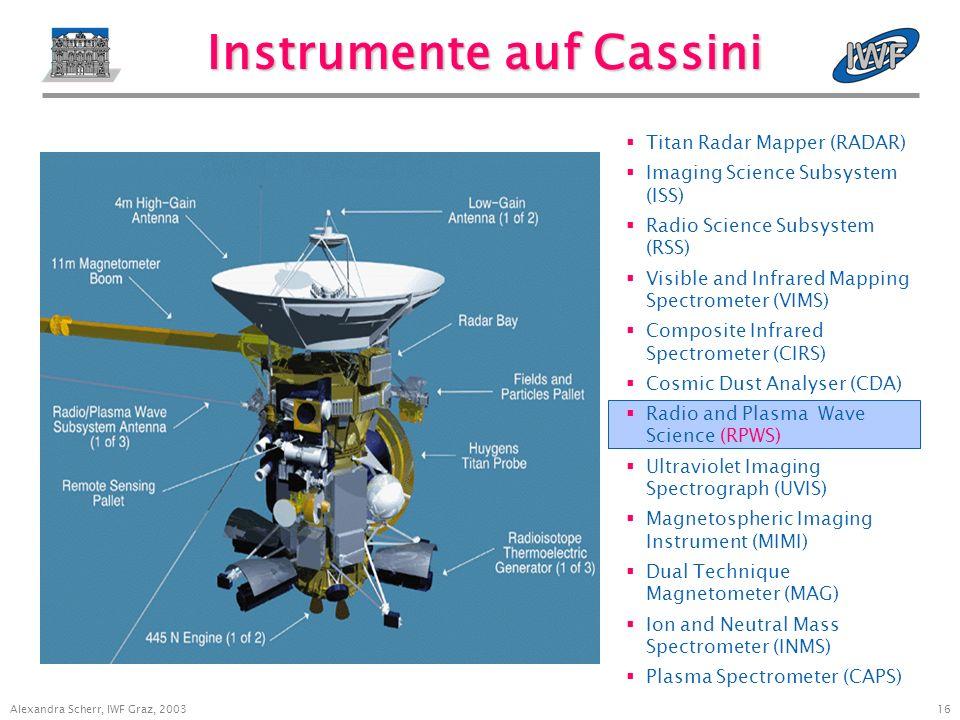 15 Alexandra Scherr, IWF Graz, 2003 Raumsonde Cassini/Huygens Orbiter (= Cassini) wird Saturn ab 1.7.2004 (Erreichen der Saturn-Umlaufbahn) umkreisen (Missionsende: 1.7.2008).