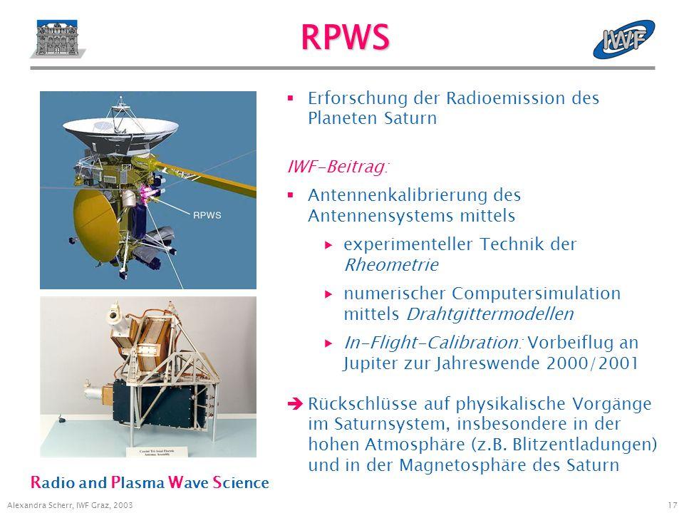 16 Alexandra Scherr, IWF Graz, 2003 Instrumente auf Cassini Titan Radar Mapper (RADAR) Imaging Science Subsystem (ISS) Radio Science Subsystem (RSS) V