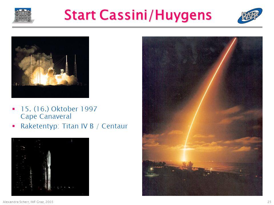 24 Alexandra Scherr, IWF Graz, 2003 Mission Cassini/Huygens Start: 15.