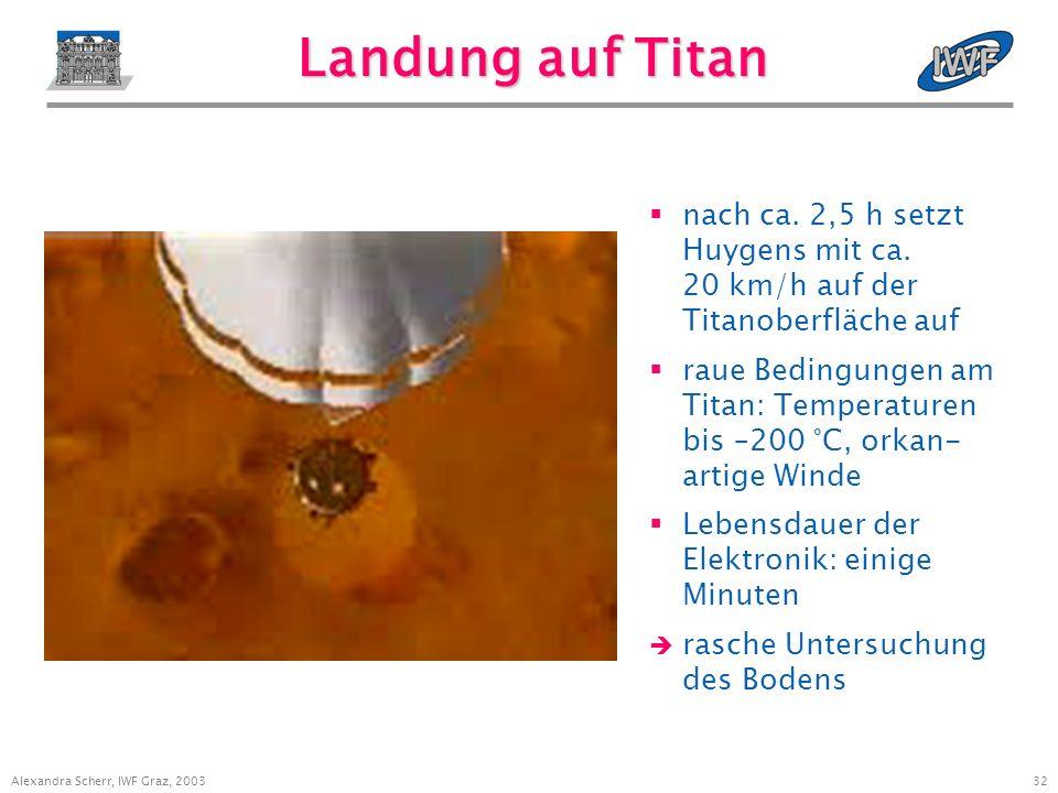 31 Alexandra Scherr, IWF Graz, 2003 Titanatmosphäre Raumsonde Voyager hat eine Atmosphäredichte von 1.496 mbar gemessen (Erde: 1.013 mbar) Hauptbestandteile: Stickstoff und Methan durch komplexe Photo- chemie entstehen zahlreiche organische Verbindungen Nebelschleier bestehend aus H-, C-, N-Verbindungen in ca.