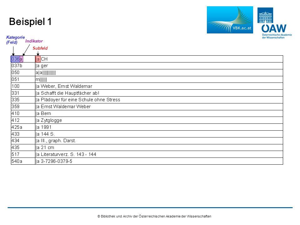 Beispiel 1 © Bibliothek und Archiv der Österreichischen Akademie der Wissenschaften Kategorie (Feld) Indikator Subfeld