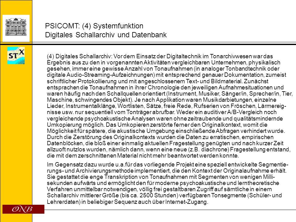PSICOMT: (4) Systemfunktion Digitales Schallarchiv und Datenbank (4) Digitales Schallarchiv: Vor dem Einsatz der Digitaltechnik im Tonarchivwesen war