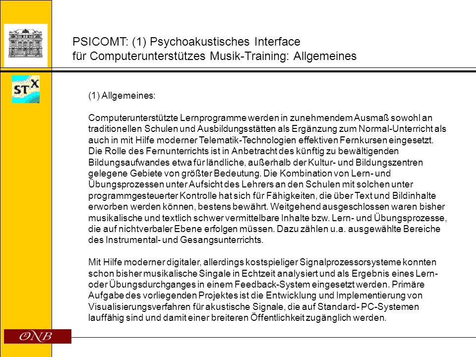 PSICOMT: (2) Problemstellung Psychoakustisches Interface für Computerunterstützes Musik-Training (2) Problemstellung: Psychoakustische Funktionen Die akustische Analyse nach Frequenz, Amplitude und Zeit entspricht nicht oder nur teilweise der auditiven Wahrnehmung.