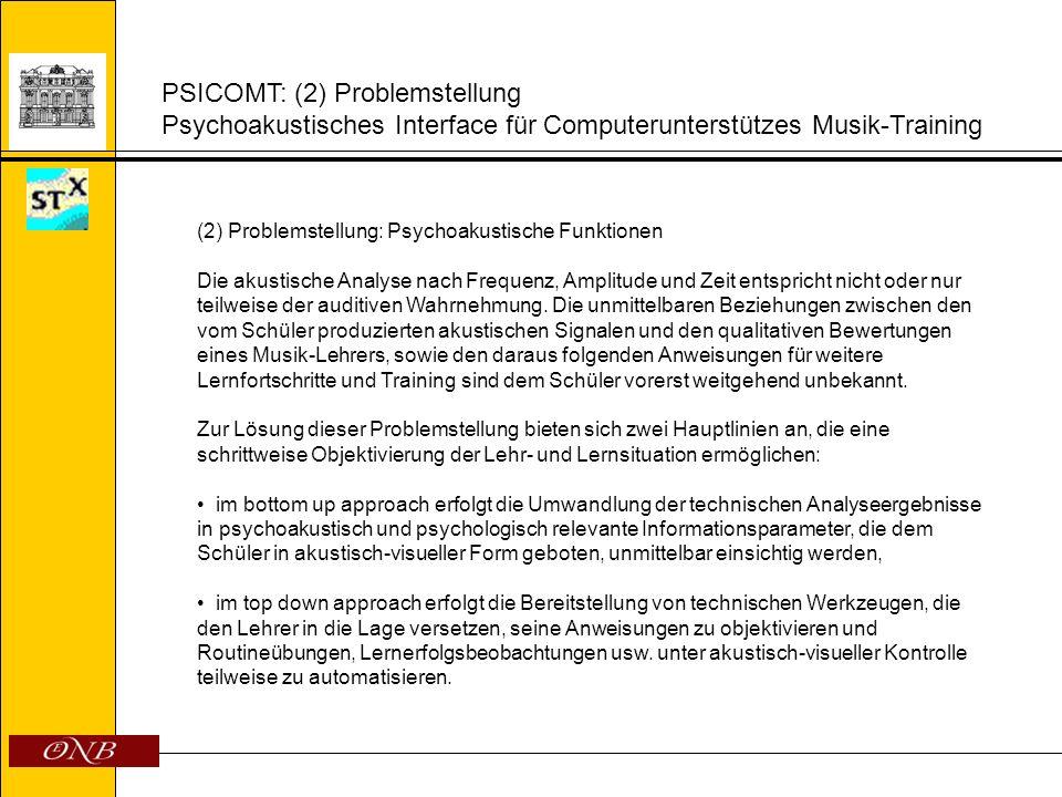 PSICOMT: (2) Problemstellung Psychoakustisches Interface für Computerunterstützes Musik-Training (2) Problemstellung: Psychoakustische Funktionen Die