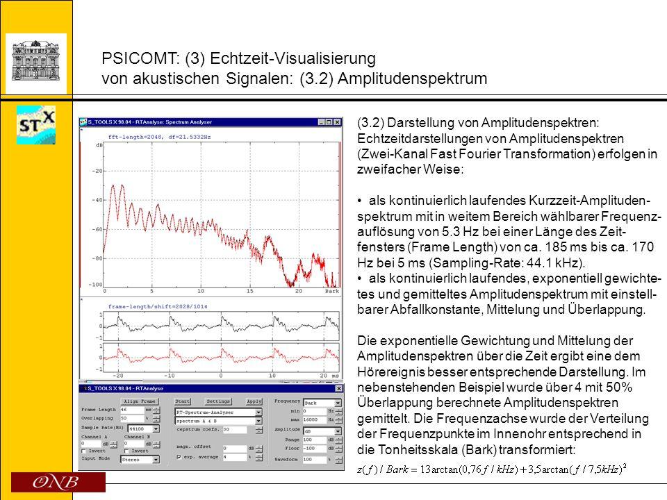 PSICOMT: (3) Echtzeit-Visualisierung von akustischen Signalen: (3.2) Amplitudenspektrum (3.2) Darstellung von Amplitudenspektren: Echtzeitdarstellunge