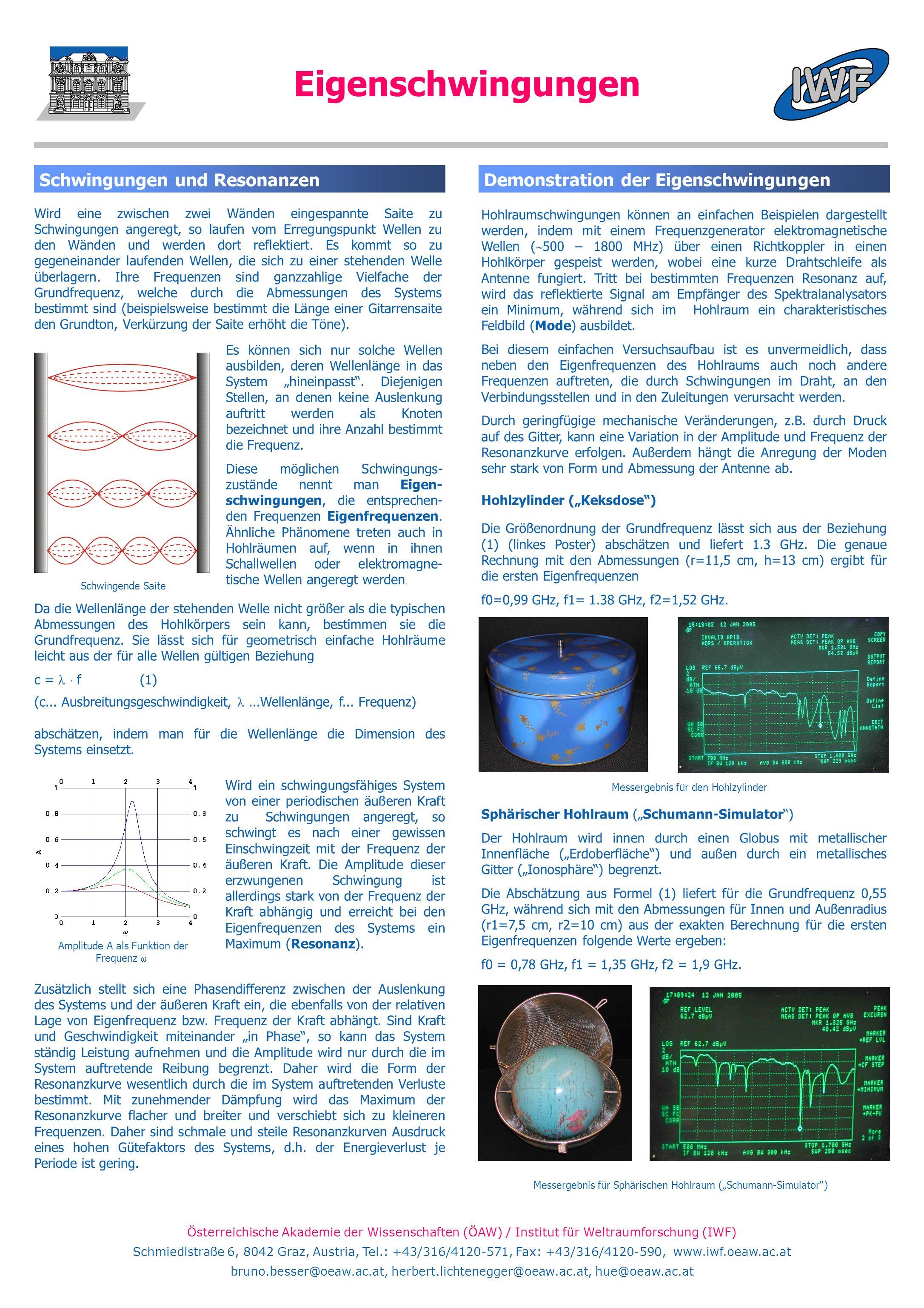 Österreichische Akademie der Wissenschaften (ÖAW) / Institut für Weltraumforschung (IWF) Schmiedlstraße 6, 8042 Graz, Austria, Tel.: +43/316/4120-571,