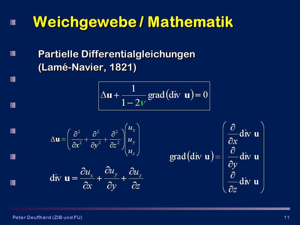 Peter Deuflhard (ZIB und FU)11 Weichgewebe / Mathematik Partielle Differentialgleichungen (Lamé-Navier, 1821) Partielle Differentialgleichungen (Lamé-Navier, 1821)