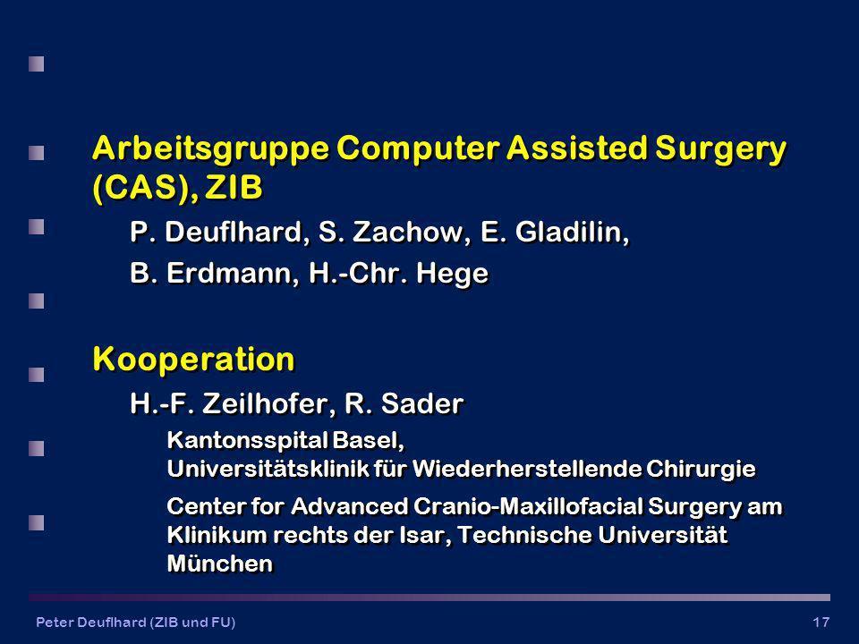 Peter Deuflhard (ZIB und FU)17 Arbeitsgruppe Computer Assisted Surgery (CAS), ZIB P.