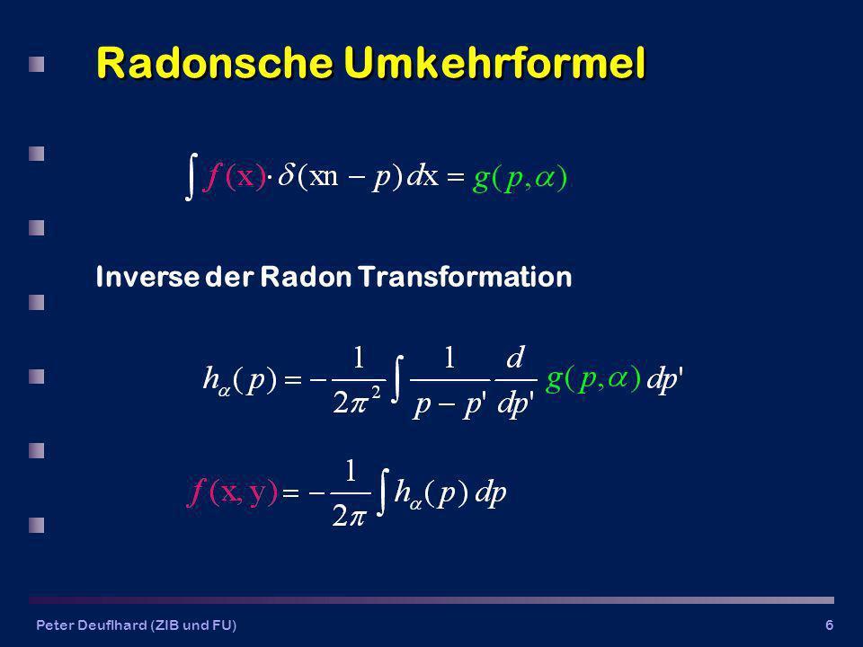 Peter Deuflhard (ZIB und FU)6 Radonsche Umkehrformel Inverse der Radon Transformation