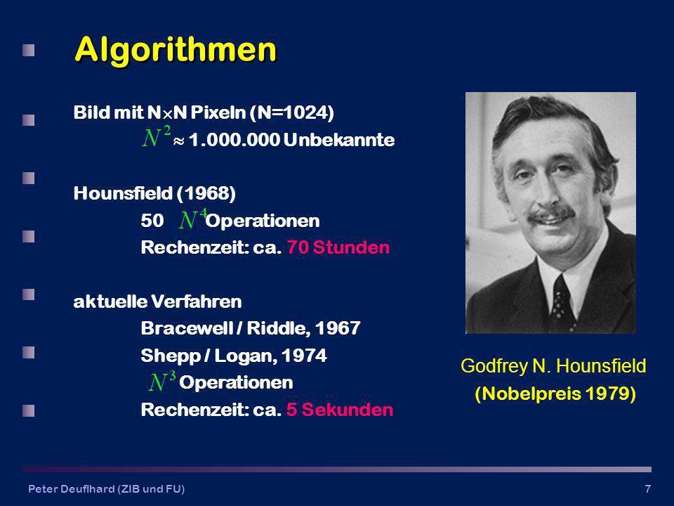 Peter Deuflhard (ZIB und FU)7 Algorithmen Bild mit N N Pixeln (N=1024) 1.000.000 Unbekannte Hounsfield (1968) 50 Operationen Rechenzeit: ca.