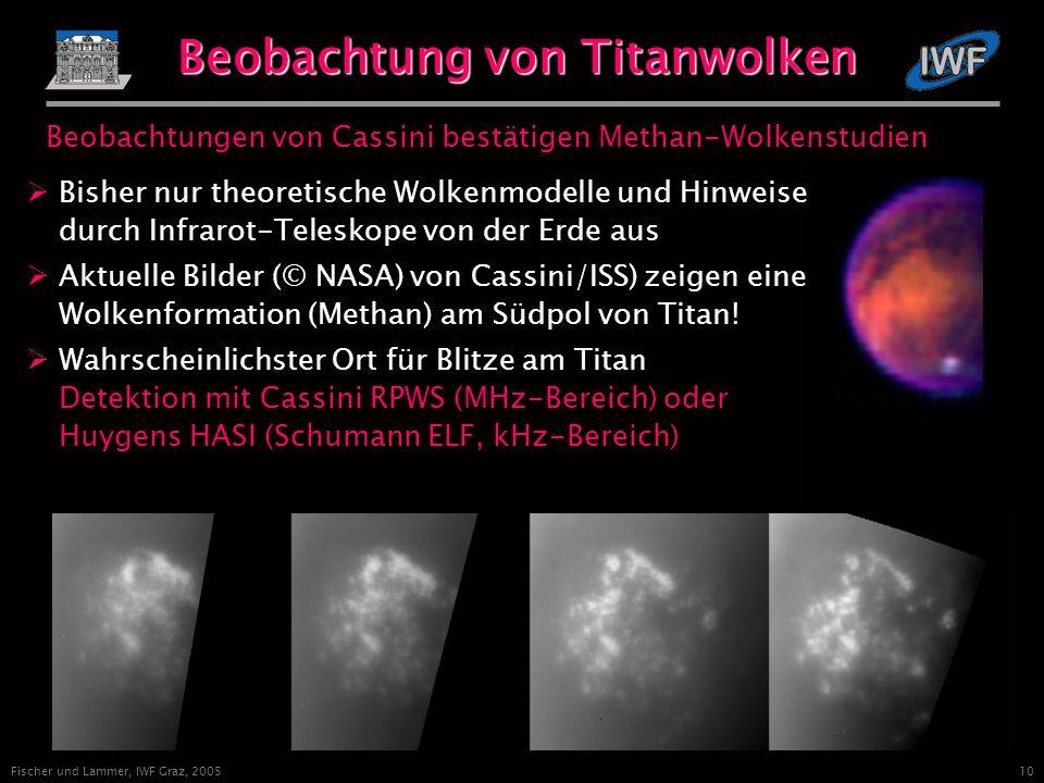 10 Fischer und Lammer, IWF Graz, 2005 Beobachtung von Titanwolken Beobachtungen von Cassini bestätigen Methan-Wolkenstudien Bisher nur theoretische Wolkenmodelle und Hinweise durch Infrarot-Teleskope von der Erde aus Aktuelle Bilder (© NASA) von Cassini/ISS) zeigen eine Wolkenformation (Methan) am Südpol von Titan.