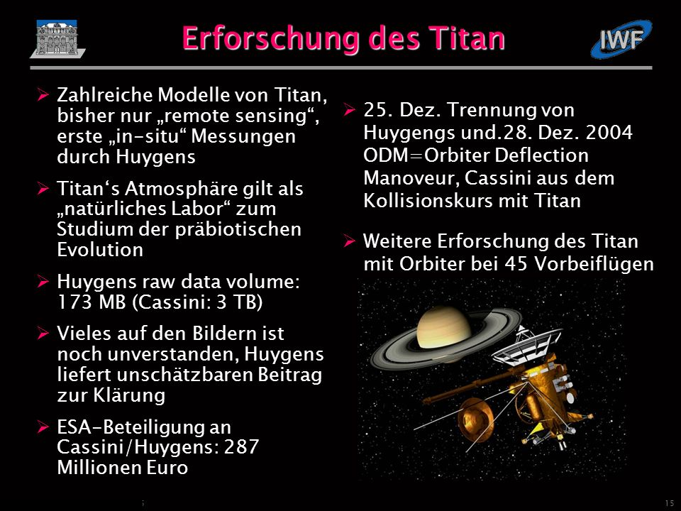 15 Fischer und Lammer, IWF Graz, 2005 Erforschung des Titan 25.