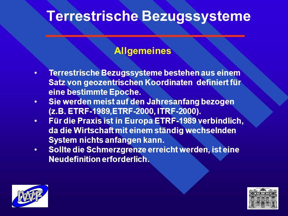 Terrestrische Bezugssysteme Allgemeines Terrestrische Bezugssysteme bestehen aus einem Satz von geozentrischen Koordinaten definiert für eine bestimmt