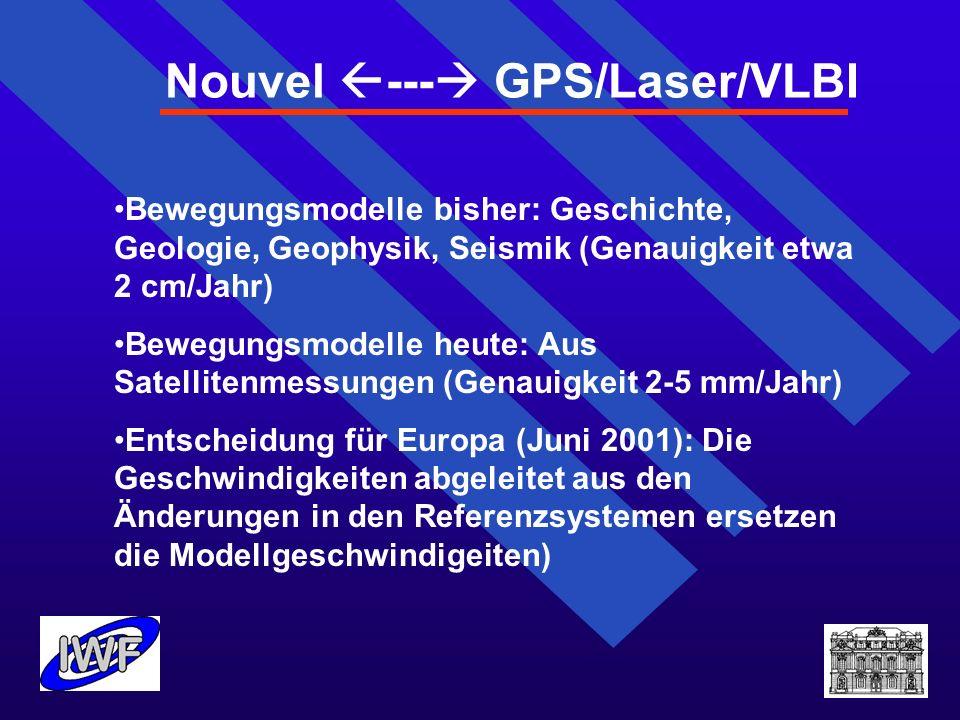 Nouvel --- GPS/Laser/VLBI Bewegungsmodelle bisher: Geschichte, Geologie, Geophysik, Seismik (Genauigkeit etwa 2 cm/Jahr) Bewegungsmodelle heute: Aus S
