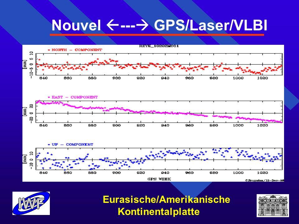 Nouvel --- GPS/Laser/VLBI Eurasische/Amerikanische Kontinentalplatte