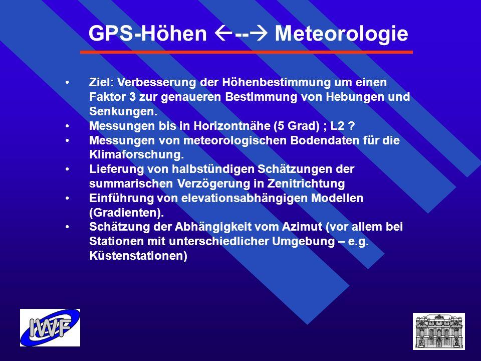 Ziel: Verbesserung der Höhenbestimmung um einen Faktor 3 zur genaueren Bestimmung von Hebungen und Senkungen. Messungen bis in Horizontnähe (5 Grad) ;