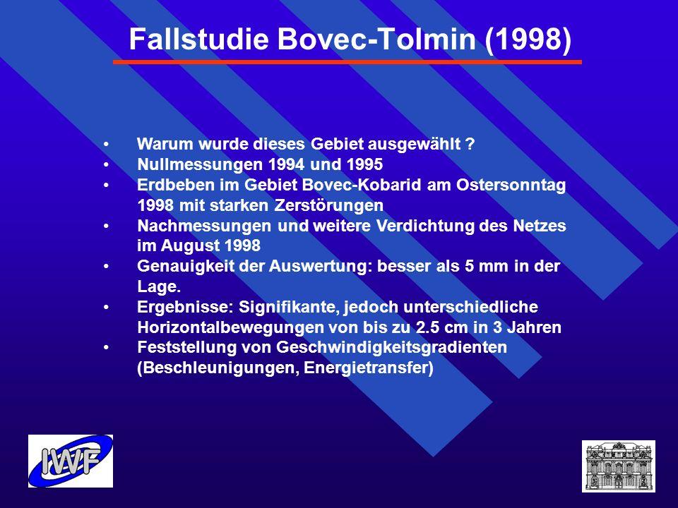 Fallstudie Bovec-Tolmin (1998) Warum wurde dieses Gebiet ausgewählt ? Nullmessungen 1994 und 1995 Erdbeben im Gebiet Bovec-Kobarid am Ostersonntag 199