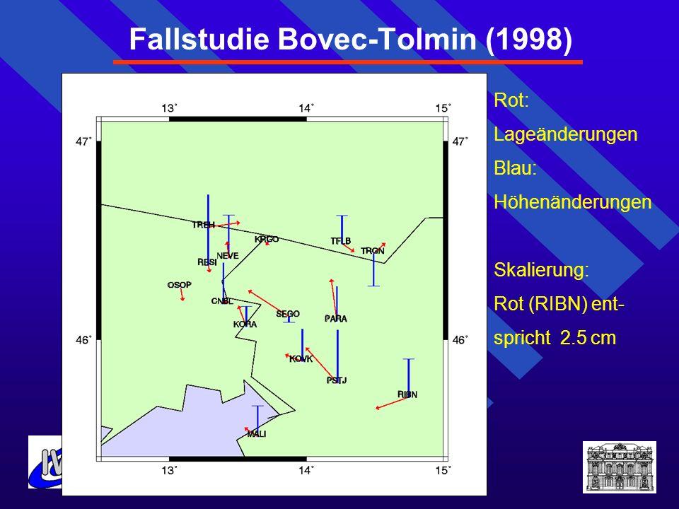 Fallstudie Bovec-Tolmin (1998) Rot: Lageänderungen Blau: Höhenänderungen Skalierung: Rot (RIBN) ent- spricht 2.5 cm