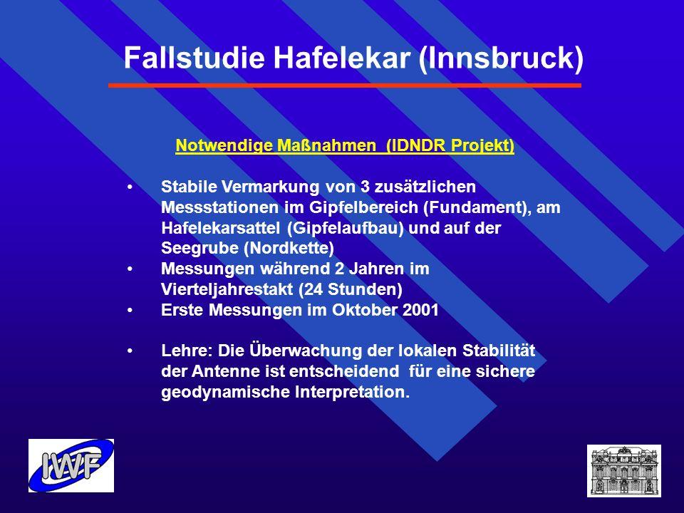 Fallstudie Hafelekar (Innsbruck) Notwendige Maßnahmen (IDNDR Projekt) Stabile Vermarkung von 3 zusätzlichen Messstationen im Gipfelbereich (Fundament)