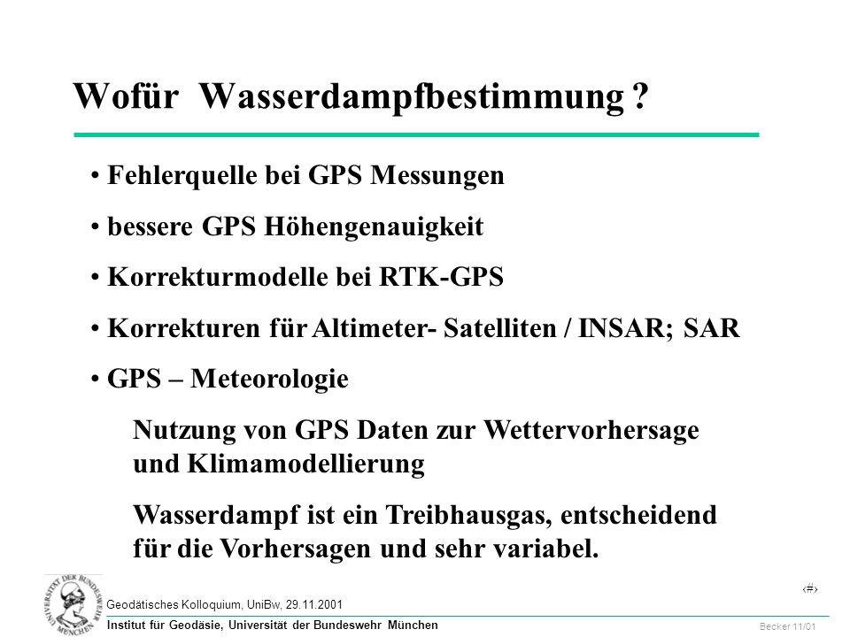 48 Geodätisches Kolloquium, UniBw, 29.11.2001 Becker 11/01 Institut für Geodäsie, Universität der Bundeswehr München Wofür Wasserdampfbestimmung .