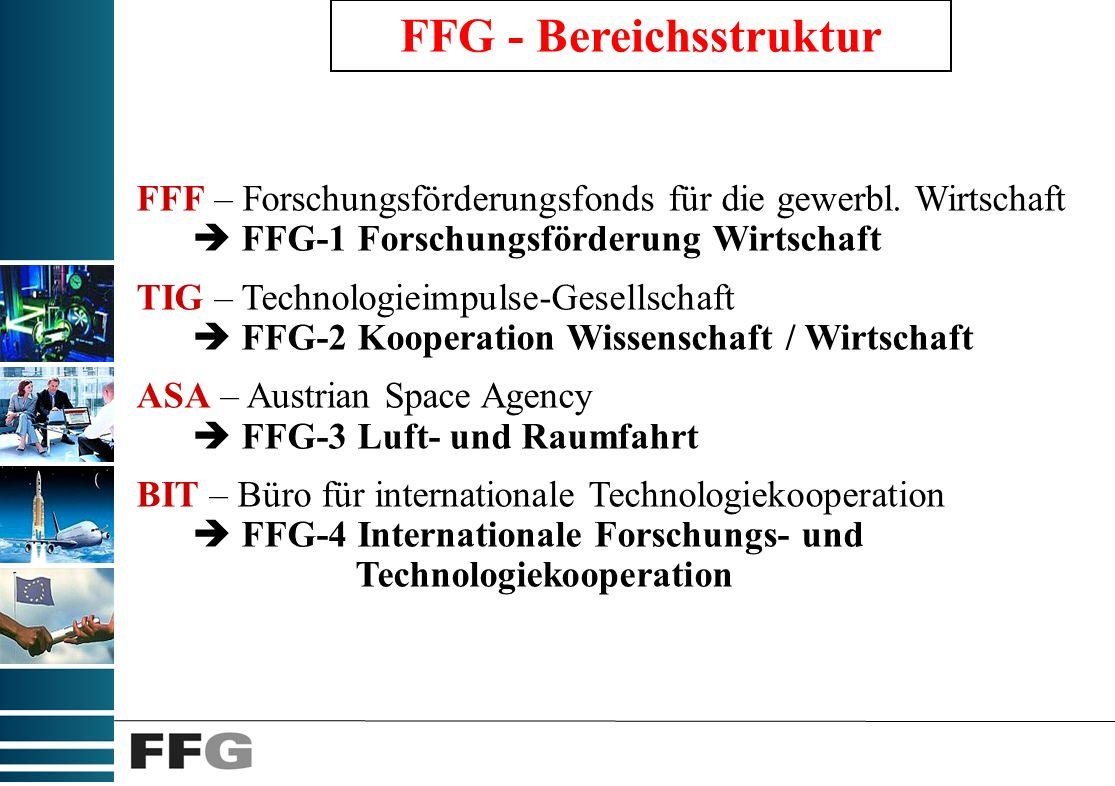 FFG - Bereichsstruktur FFF – Forschungsförderungsfonds für die gewerbl.