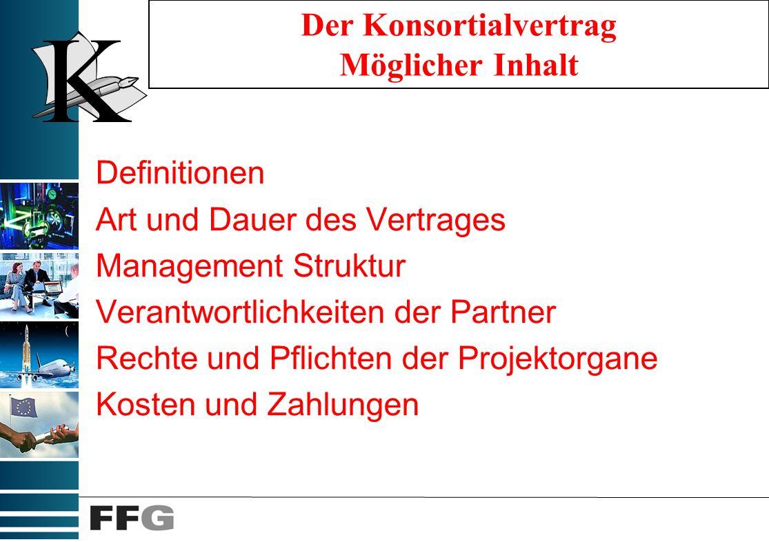 Mögl. Verträge Vorverträge Regelung der Mindeststandards (PM, Finanzen, etc.