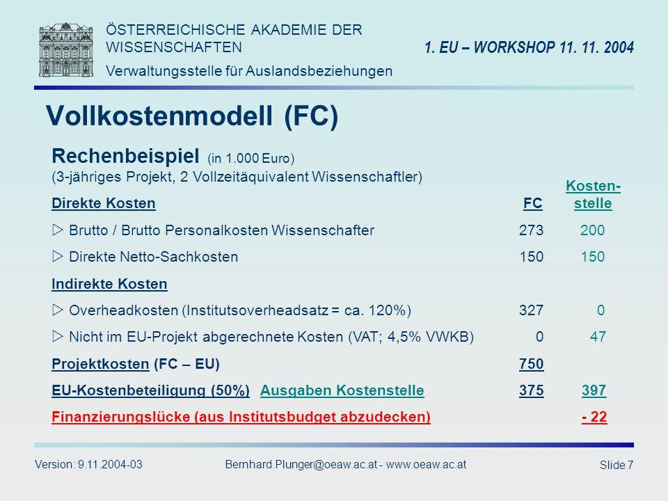 ÖSTERREICHISCHE AKADEMIE DER WISSENSCHAFTEN Verwaltungsstelle für Auslandsbeziehungen 1.