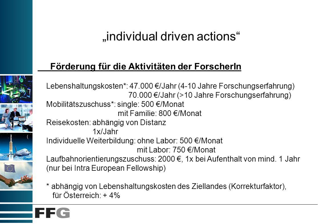 individual driven actions Förderung für die Aktivitäten der ForscherIn Lebenshaltungskosten*: 47.000 /Jahr (4-10 Jahre Forschungserfahrung) 70.000 /Ja