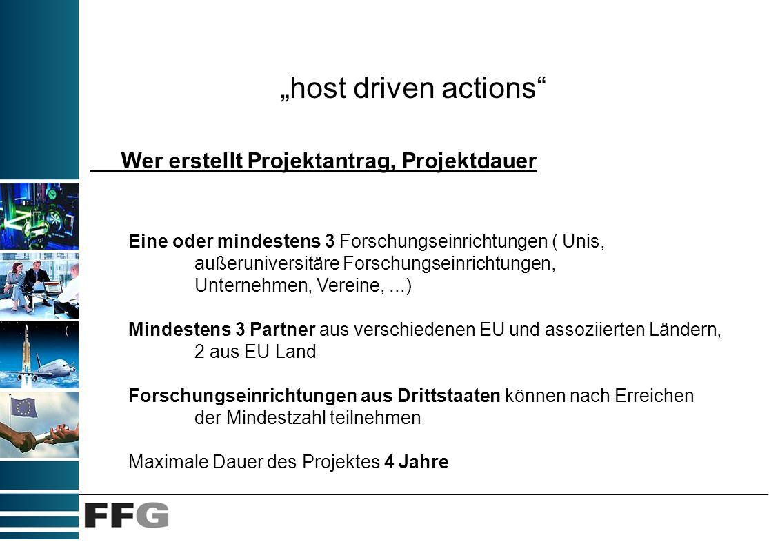 host driven actions Wer erstellt Projektantrag, Projektdauer Eine oder mindestens 3 Forschungseinrichtungen ( Unis, außeruniversitäre Forschungseinric